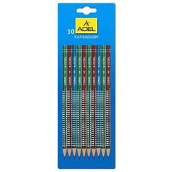Карандаш чернографит. Adel CORAL 205-1163-004 HB ассорти (кр/син/зел) сереб. рисунок  (10шт)