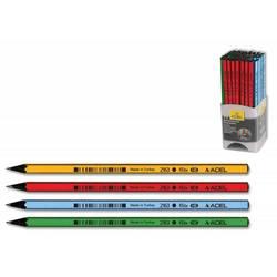 Карандаш чернографит. Adel ELITE 205-2163-000 HB черное дерево корпус ассорти (жел/крас/зел/голуб)