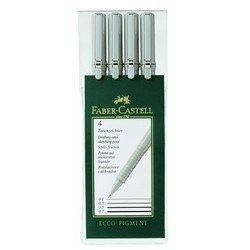 Ручки капиллярные Faber-Castell Ecco Pigment 166004 01 03 05 0,7мм в пластмассовом пенале 4шт