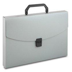 Пластиковая папка-портфель A4 с 1 отделением, 0.7 мм (Бюрократ BPP01GREY) (серый)