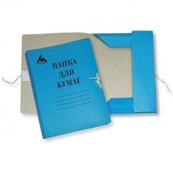 Папка на завязках Бюрократ PZ320Mblue картон мелованный 0.6мм 320г/м2 синий