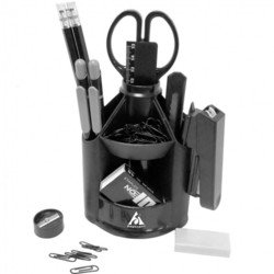 Настольный набор Бюрократ BC569 Минидеск вращающийся пластиковый 12 предметов черный