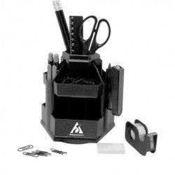 Настольный набор Бюрократ BC599 вращающийся Суперофис пластиковый 12 предметов черный