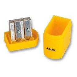 Точилка Adel 607 2 отверстия метал. механизм заточки корпус пластиковый ассорти(крас/жел/зел/син)