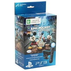 комплект sony playstation 3 «epic mickey: две легенды» (ps move)+камера ps eye + контроллер движений