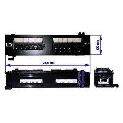 Патч-панель настенная, 12xRJ45, UTP, Кат. 5е (TWT-PP12UTP-H)