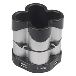 Разветвитель A4Tech USB 2.0 (HUB-77) (серебристый/черный)