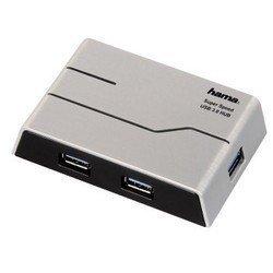 USB-хаб Hama H-39879 на 4 порта USB 3.0 + блок питания (черный/белый)