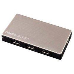USB-хаб Hama H-54544 на 4 порта USB 3.0 + блок питания (черный/серебристый)