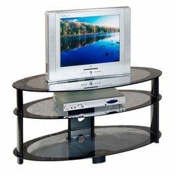 Тумба для TV Бюрократ TV-02/Black серый с черном кантом стекло 105см(ш)x46см(д)x50см(в)
