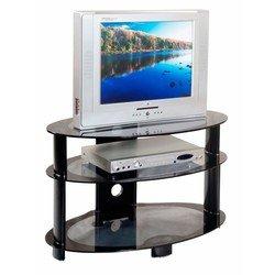 Тумба для TV Бюрократ TV-06/Black серый с черном кантом стекло 80см(ш)x46см(д)x50см(в)