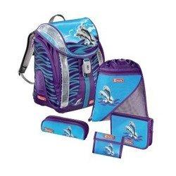 Ранец школьный с аксессуарами Step By Step (Happy Dolphins Flexline 00119707) (синий, фиолетовый)