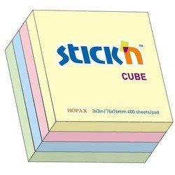 Куб Hopax 21013 пастельный 76*76мм 400л 4цвета