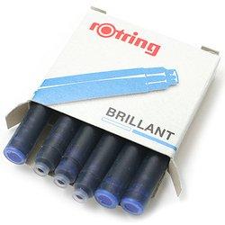 Катриджи c бриллиантовыми чернилами Rotring для перьевой ручки цвет Royal blue (6шт.)