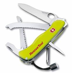 Нож перочинный Victorinox RescueTool One Hand 0.8623.MWN с фиксатором 15 фнк желтый люминисцентный