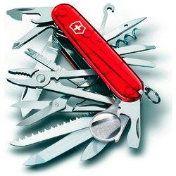 Нож перочинный Victorinox SWISS CHAMP 91мм полупрозрачный красный