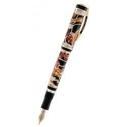 Ручка перьевая Visconti Dragon корпус смола вст сер 925пр позол лак перо паллад 23кт M (Vs-648-02M)