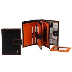 Кошелек Tuscans 12x9.5см черный с оранжевым натур кожа (TS-938-087)