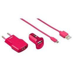 Набор зарядных устройств + кабель USB - microUSB (Hama H-102007) (розовый)