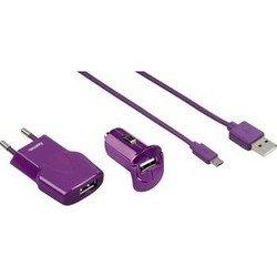 Набор зарядных устройств + кабель USB - microUSB (Hama H-102008) (лиловый)
