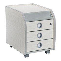 Тумба Бюрократ Conductor-10/Milk 4 ящика, серые колеса, размеры 400*590*495, цвет мол./серый