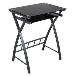 Стол комп. Бюрократ GD-003/Black черный закаленное стекло выдв.полка п/клавиатуру