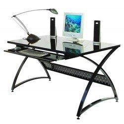 Стол Бюрократ SIGMA-5/Black стекл. черный закаленное стекло 8 и 5мм выдв.полка п/клавиатуру