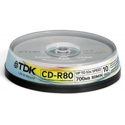 диск tdk cd-r 700mb 52x cake box (10шт)