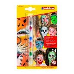 Набор маркеров для раскрашивания лица Edding E47 (аква грим) 7 цв. (чер/кр/син/з/ж/ор/бел)