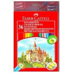 Карандаши цветные Faber-Castell Eco Замок 120136 с точилкой в картонной коробке 36 цветов