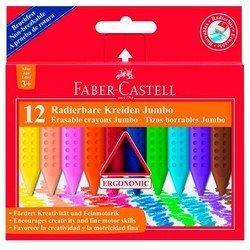 Мелки восковые Faber-Castell Jumbo Grip 122540 цветные стирающиеся в картонной коробке 12 цветов