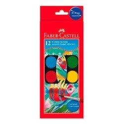 Краски акварельные Faber-Castell Watercolours 125012 с кисточкой диаметр 30мм 12 цветов