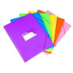 Пластиковая папка-короб на резинке A4 (Бюрократ TROPIC TR520) (ассорти)