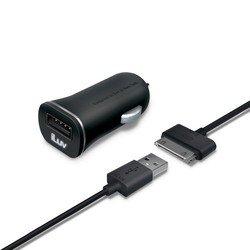 Автомобильное зарядное устройство USB + дата-кабель Apple 30-pin (iLuv iAD565BLK) (черный)