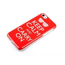 чехол-накладка для apple iphone 5c (acqua gelly keep calm and carry on 49118) (красный)