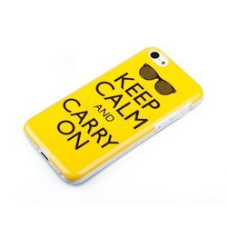 чехол-накладка для apple iphone 5c (acqua gelly keep calm and carry on 49119) (желтый)