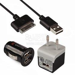 Автомобильное и сетевое зарядное устройство USB + дата-кабель для Apple 30-pin (Griffin CD126597) (черный)