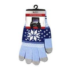 Перчатки для сенсорных экранов (5 пальцев, размер S) (CD125845) (Снежинка, голубой)