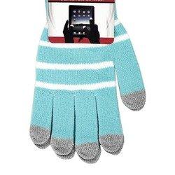 Перчатки для сенсорных экранов (5 пальцев, размер M) (CD125831) (Полоски, голубой)