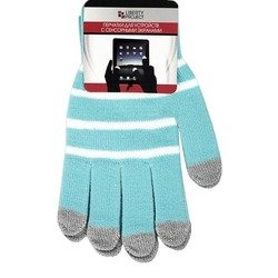 Перчатки для сенсорных экранов (5 пальцев, размер S) (CD125832) (Полоски, голубой)