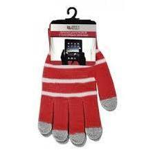 Перчатки для сенсорных экранов (5 пальцев, размер M) (CD125833) (Полоски, красный)