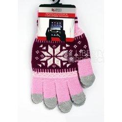 Перчатки для сенсорных экранов (5 пальцев, размер M) (CD125846) (Снежинка, розовый)
