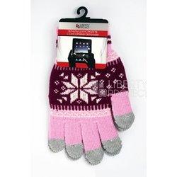 Перчатки для сенсорных экранов (5 пальцев, размер S) (CD125847) (Снежинка, розовый)