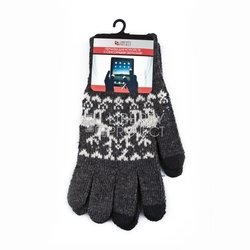 Перчатки для сенсорных экранов (3 пальца, размер L) (R0000502) (Олени, серый)