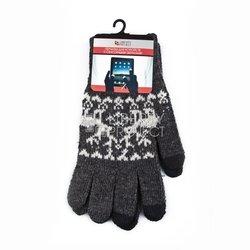 Перчатки для сенсорных экранов (3 пальца, размер M) (R0000501) (Олени, серый)
