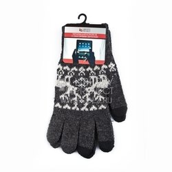 Перчатки для сенсорных экранов (3 пальца, размер S) (R0000500) (Олени, серый)