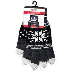 Перчатки для сенсорных экранов (5 пальцев, размер M) (CD125840) (Снежинка, серый)