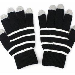 Перчатки для сенсорных экранов (5 пальцев, размер L) (CD125835) (Полоски, серый)