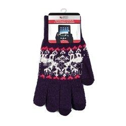 Перчатки для сенсорных экранов (3 пальца, размер L) (R0000505) (Олени, фиолетовый)