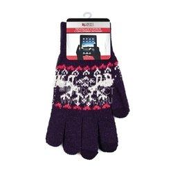 Перчатки для сенсорных экранов (3 пальца, размер S) (R0000503) (Олени, фиолетовый)